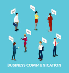 isometric business people communication concept vector image vector image