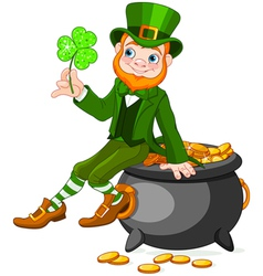 Leprechaun sitting on pot of gold vector image