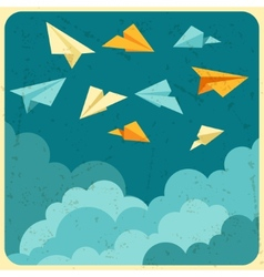 paper planes on the sky with clouds vector image vector image