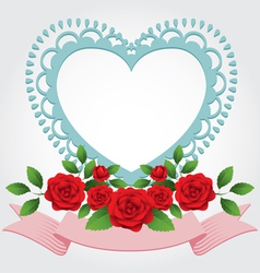Red Roses Heart Shape Frame and Border vector image