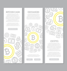 set of three digital money and bitcoin vertical vector image vector image