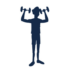 Silhouette fitness man weight lifting workout vector