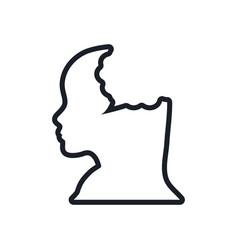 silhouette head female bubble speech line vector image vector image