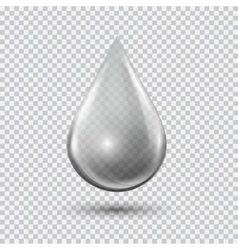 Transparent waterdrop on light gray background vector image