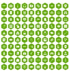 100 hacking icons hexagon green vector