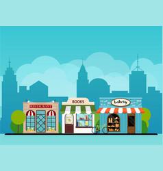 urban landscape book shop bakery restaurant vector image