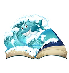 A book with a smiling shark vector image vector image