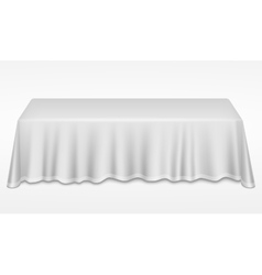 Empty dinner banquet table with white cloth 3d vector image