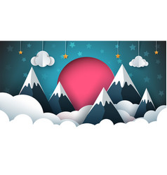 mountain paper red sun cloud star vector image