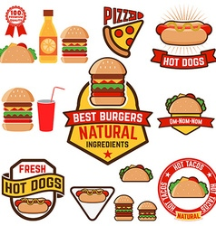 Set of hot dogs hamburgers tacos labels badges and vector image vector image