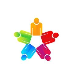 Teamwork holding hands people logo vector image vector image