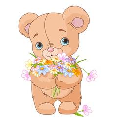 Teddy bear giving bouquet vector image vector image