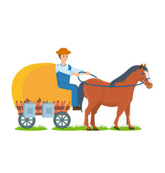 farmer rides horse on cart engaged farm craft vector image
