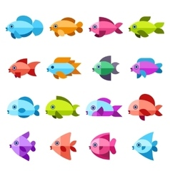 Fish flat icons set vector image