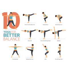 10 yoga poses for better balance concept vector image