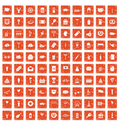 100 beer party icons set grunge orange vector