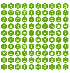 100 hairdresser icons hexagon green vector image
