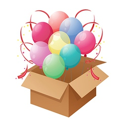 A box of colorful balloons vector