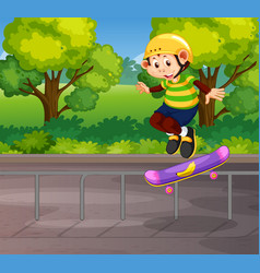 a monkey playing skateboard vector image