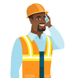 African-american builder talking on mobile phone vector