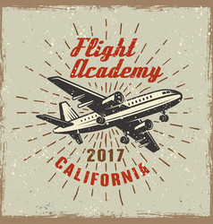 Airplane label for flying academy vector