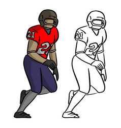 American football player in red jersey shirt vector