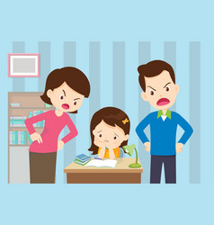 Angry mother and father to daughter so bad vector