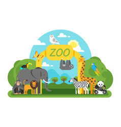 animals standing at the zoo entrance vector image