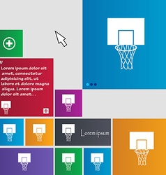 Basketball backboard icon sign buttons modern vector