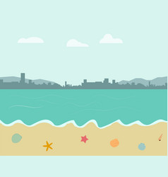 Beach background in pastel color style vector