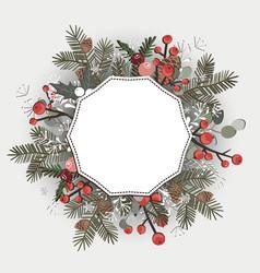 beautiful christmas decorative wreath greeting vector image