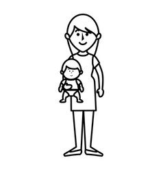 Beautifull mother with baby avatar character vector