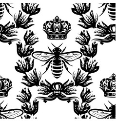 bee laurel wreath and crown seamless vector image