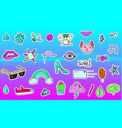 big set vaporwave styled colorful modern vector image