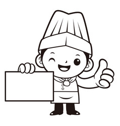 black and white head chef mascot business card vector image