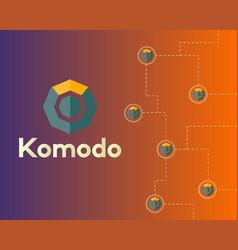 Blockchain komodo symbol connected background vector