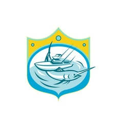 Blue Marlin Charter Fishing Boat Retro vector