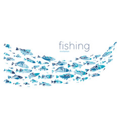 Blue school fish on white background vector