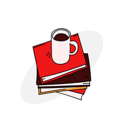 Books and coffee cup vector