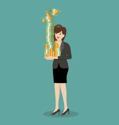 Business woman holding a lot of money vector