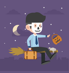 Businessman halloween character on a broomstick vector