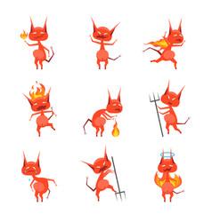 cartoon characters devil horned monster set vector image