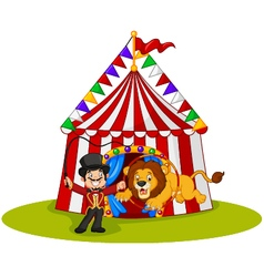 Cartoon lion jumping through ring with circus tent vector image