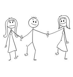 Cartoon of heterosexual couple walking and vector