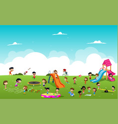 children playing games in the park vector image