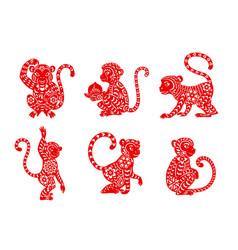 Chinese zodiac animal monkey or ape icons vector