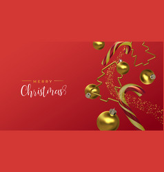 christmas card gold red 3d holiday decoration vector image