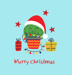christmas card with funny cactus and gifts vector image