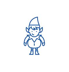 christmas cute elf line icon concept christmas vector image