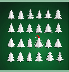 christmas kit trees on green background vector image